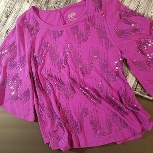Justice Girl's Fuschia Pink Sequin Top